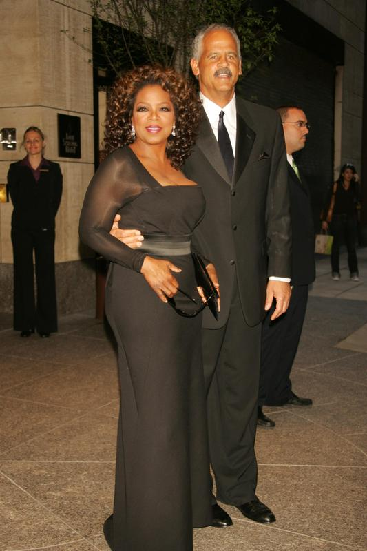 Oprah Winfrey with Stedman Graham leaving her hotel